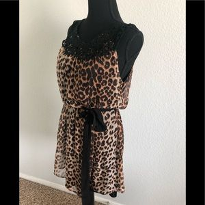 Tops - Leopard animal print long tunic style shirt